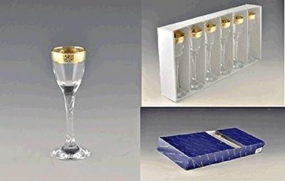 Cordial Liqueur Glasses Set of 6 With Gold Rim