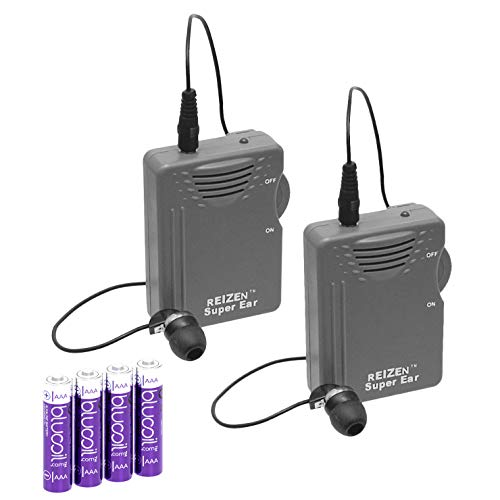 Reizen Loud Ear 110dB Gain Personal Amplifier Plus Two Extra Blucoil AAA Batteries - 2 Pack