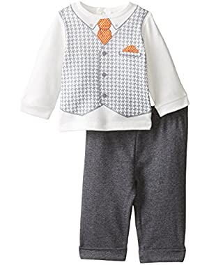 Baby-Boys Newborn The Banker Pant Set, Grey Heather/Multi
