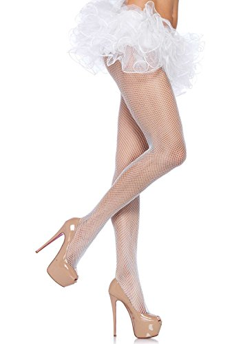 White Nylon Fishnet - Leg Avenue Women's Nylon Fishnet Pantyhose, White, One Size