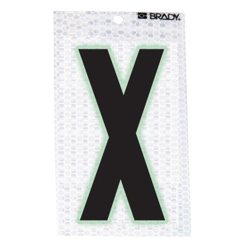 Brady 3010-X, 52297 Glow-In-The-Dark/Ultra Reflective Letter - Y, 12 Packs of 10 pcs