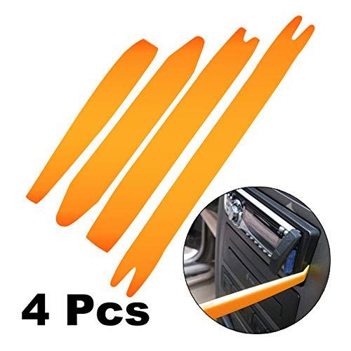 (Goaup 4 Pcs Auto Door Clip Panel Trim Removal Tool Kits for Car Dash Radio Audio- Pry bar Set Plastic -Auto Body Repair Tools)