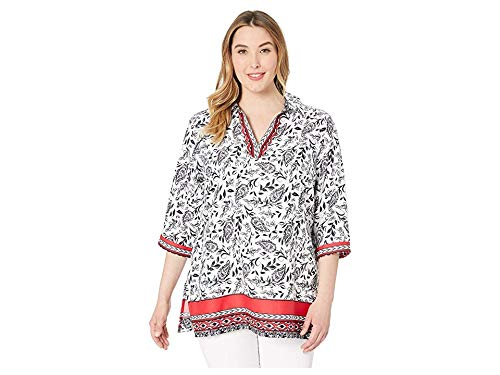 Foxcroft Women's Plus Size Angel Spanish Paisley Tunic, Multi, ()