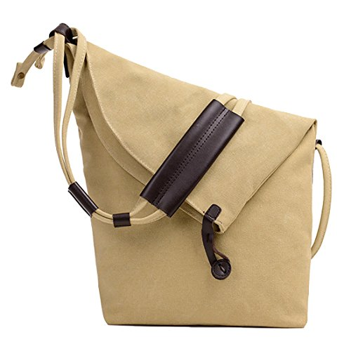Female Canvas UNYU Messenger Satchel Khaki Bags For girl Womens Lady Hobo Bag Fashion Shoulder Slouch Leather Crossbody Bag HExaq4w