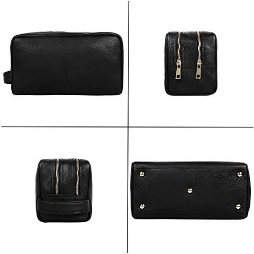 Genuine Leather Travel Toiletry Bag – Dopp Kit Travel Organizer By Rustic Town (Medium, Black)