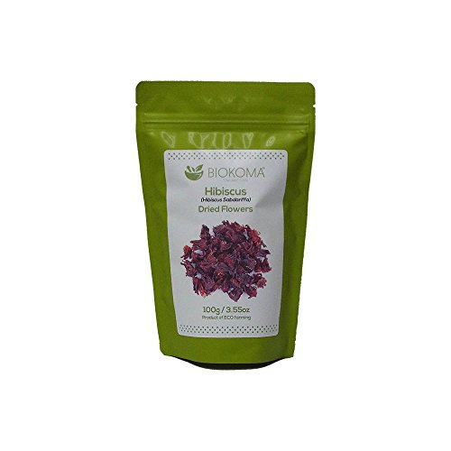 100% Pure and Organic Biokoma Hibiscus Dried Flowers 100g (3.55oz) in Resealable Moisture Proof Pouch