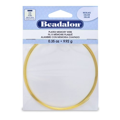 Beadalon Flat Necklace Memory Wire for Beading, 0.35-Ounce, Gold
