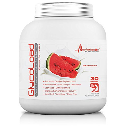 Metabolic Nutrition, Glycoload, 100% Micronized Cyclic Cluster Dextrin Carbohydrate Powder, Muscle Glycogen Loading Carbohydrate, Pre Intra Post Workout Supplement, Watermelon, 600 gm (30 - Supplement Glycogen