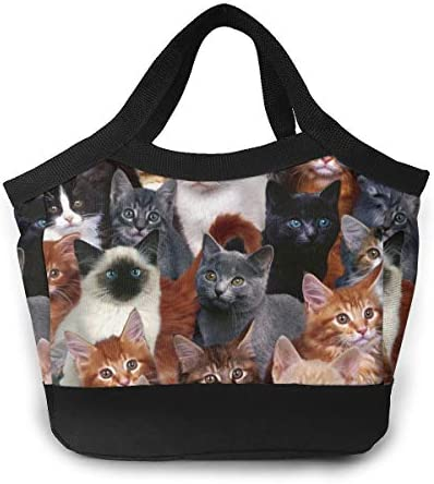 White Black Brown Cat ランチバッグ お弁当袋 クーラーバッグ トートバッグ 保冷保温 大容量
