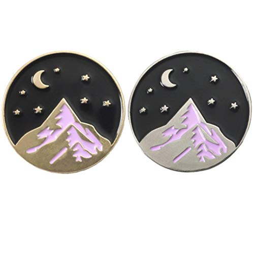 Charmart Mountain Moon Stars Hiker Lapel Pin 2 Piece Set Nature Adventure Travel Lover Enamel Brooch Pins Badge Gifts