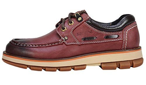 Serene Christmas Mens Fashionable Buckle Casual Oxfords(10 D(M)US, Claret)