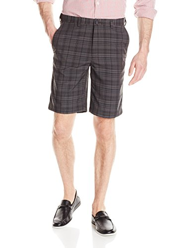 Haggar Men's Cool 18 Expandable Waist Plain Front Madras Plaid Short, Charcoal, 44
