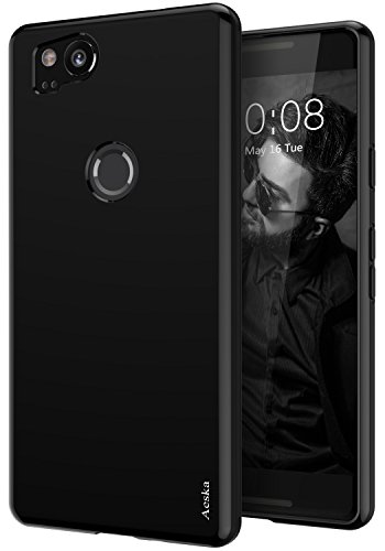 Google Pixel 2 Case, Aeska Ultra [Slim Thin] Flexible TPU Gel Rubber Soft Skin Silicone Protective Case Cover for Google Pixel 2 (Black)