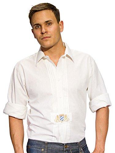 Trachten Hemd Wappen langarm weiss