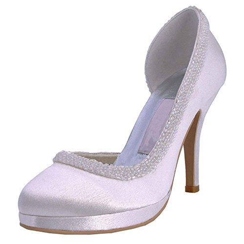 Womens Minitoo Pumps Ivory 10cm Heel Round Stiletto Satin Shoes Toe Wedding Heel Bridal Beading dHqwHrnFR