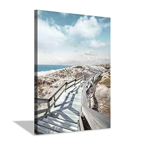 Beach Pier Canvas Wall Art: Boardwalk Stair Picture Graphic Art Painting for Wall Decor(18''x24'')