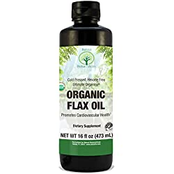 Natural Nutra Organic Flaxseed Oil Liquid, Cold Pressed and Pure, 16 oz