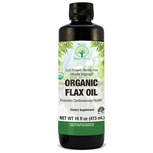 Natural Nutra Organic Flaxseed Oil Liquid  Cold Pressed And Pure  16 Oz
