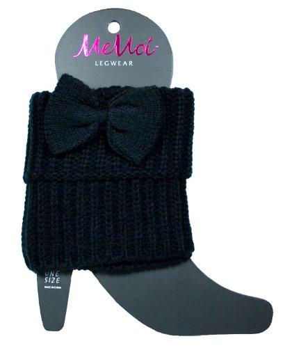 Memoi Black Bow Knitted Leg Warmer | Boot Cuff Topper By Lev