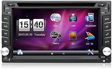 Radio para coche universal, con cámara. Sistema de navegación GPS doble din de 6,2 pulgadas, montada en salpicadero, reproductor de DVD estéreo para coche, pantalla táctil con bluetooth, USB, SD, MP3: Amazon.es: