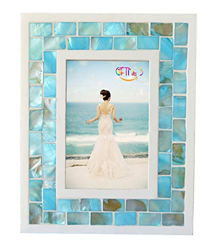Box Glass Jeweled Enamel - GIFTME 5 Picture Frame 5x7 Mother of Pearl Mosaic Photo Frame,Beach Tabletop or Wall Hanging Picture Frames(5x7 inch, Blue)