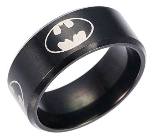 Mainstreet247 Batman Shield Logo Black Band Stainless Steel RING Multiple Adult Sizes - Ring Of Batman