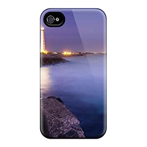 Faddish Lit Lighthouse At A Night Seashore Case Cover For Iphone 4/4s