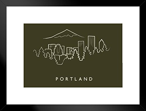 Framed Pencil Print Art - Poster Foundry Portland City Skyline Pencil Sketch Art Print Matted Framed Wall Art 26x20 inch
