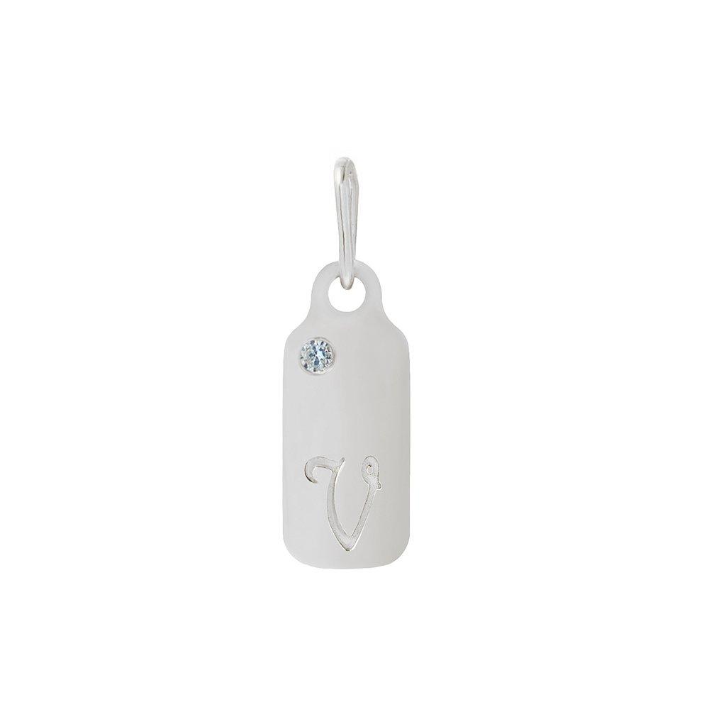 14k Gold Aquamarine March Birthstone Cursive Letter V Dog-tag Necklace