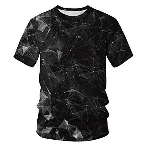 (Auremore Unisex 3D Print T-Shirt Graphic Tee Crewneck Short Sleeve T-Shirts for Men Women Tunic Tops Black Constellation XL)