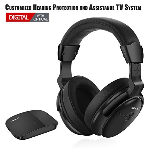 SIMOLIO Digital Wireless Headphones with Optical for All TVs, Hearing Protection Wireless TV Headphone, Wireless TV Headsets with Long Working, TV Hearing Aid Device for Seniors and Hard of Hearing