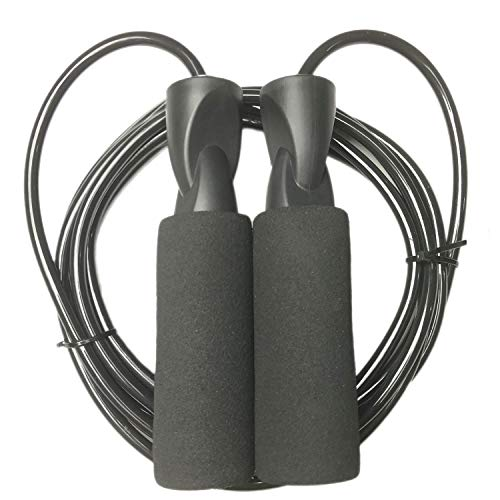 YZLSPORTS Professional Adjustable Steel Wire Jump Rope with Carrying Pouch by Fitness Factor Ergonomic,Durable,Easy to Adjust Premium Jump Rope All Heights and Skill Levels,Black 6MM Rope