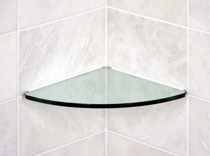 Bluegate Inc Bathroom Tempered Glass Curved Corner Shelf 10 x10 3 8 -Thick Wall Mounted