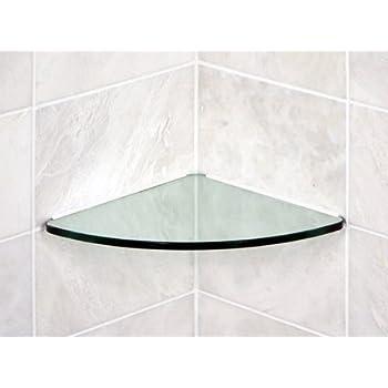 Amazon.com: Bluegate Inc Bathroom Tempered Glass Curved Corner Shelf ...