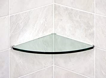 "Bluegate Inc Bathroom Tempered Glass Curved Corner Shelf 10""x10""  3/8"""