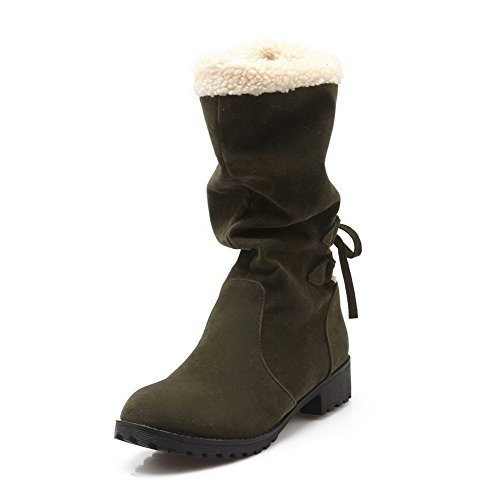Allhqfashion Women's Low-Heels Solid Closed Round Toe Frosted Pull-on Boots Armygreen