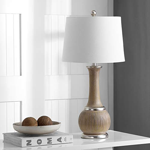Safavieh TBL4114A Home Collection Nash Grey Wood and Silver Leaf Table Lamp