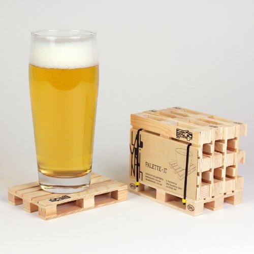Design Studio Labyrinth Barcelona Mini Euro Pallet - 4 Miniature Pallet Wood Beverage Drink Coasters. For Wine Glasses and...