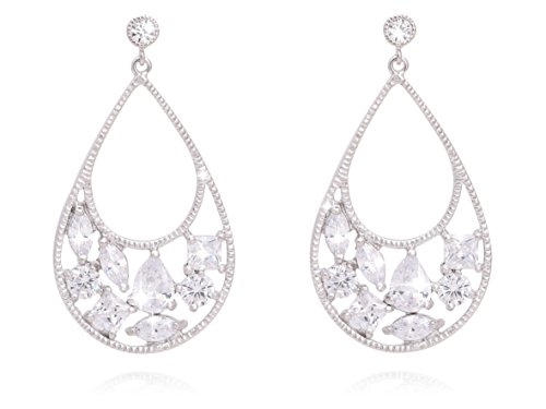 Pave Multi Frame (BONALUNA Sparkled Multi Cubic Zirconia Crystal Tear Drop Frames With Silver Rhodium Plated Statement Earrings)