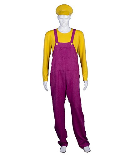 HalloweenPartyOnline Adult Men's Yellow Bad Plumber Costume HC-373 - Waluigi Costume For Women