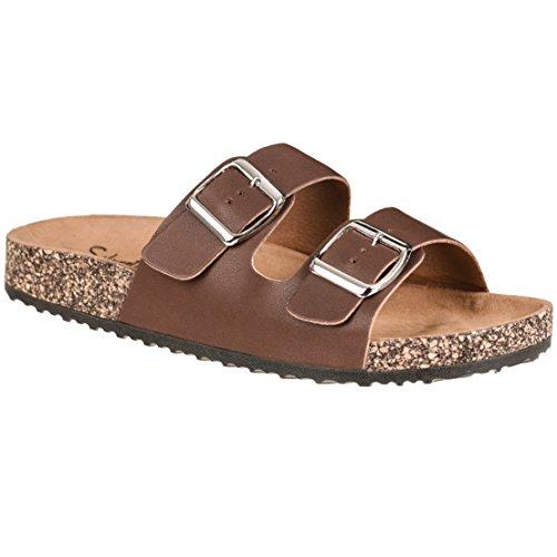 CLOVERLY Comfort Low Easy Slip On Sandal - Casual Cork Footbed Platform Sandal Flat - Trendy Open Toe Slide Sandal Shoes (11 M US, Dark Brown)