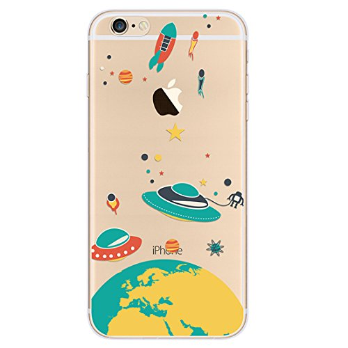 iPhone 6 Plus Case, A trading TPU Soft Case Rubber Silicone Skin Cover for iPhone 6S Plus (Flying saucer)