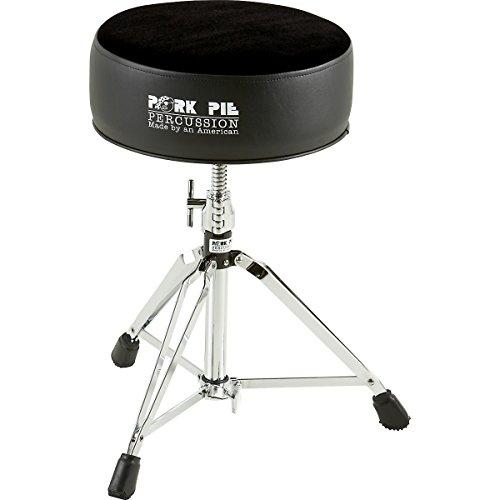 Pork Pie Round Drum Throne Black with Black Flat Top