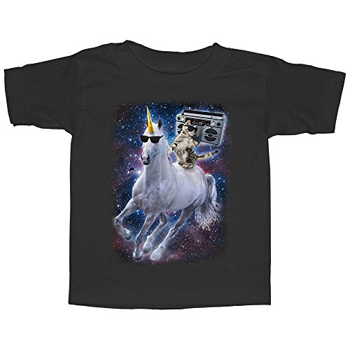 Toddler's Boombox Cat and Unicorn Space Song - Black T-Shirt ()