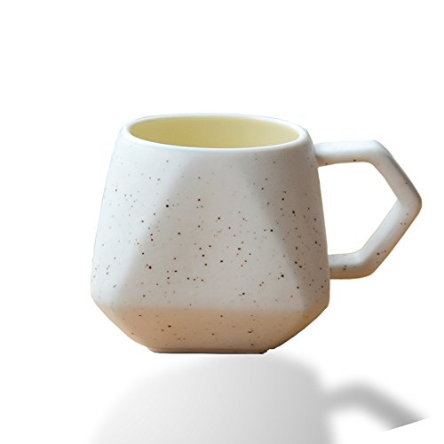 Unique Ceramic Coffee Mug Set: Stylish Diamond Shaped Mugs with a Speckled White Matte Finish - Ceramic Cups for Coffee, Tea, Hot Chocolate & More - Home & Kitchen Decor - 2 Pack, 10 Ounce