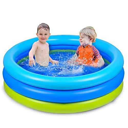 416fBKcwsVL. SS500 🌴【Piscina de verano para remar】 De color azul verdoso, refrescante y simple, ¡esta piscina te puede recordar instantáneamente el mar, el agua, los árboles, el color del verano! 🌴【Diversión segura en el agua】 No es necesario salir al exterior para refrescarse, solo disfrute del agua fresca en la piscina inflable en la terraza o en el jardín. Nuestra piscina garantiza que los niños jueguen en el agua sin riesgo. 🌴【Más resistente】 Material de PVC duradero adoptado, esta piscina para niños es más gruesa que otras, puede permanecer más tiempo en verano. Parche incluido para daños accidentales.