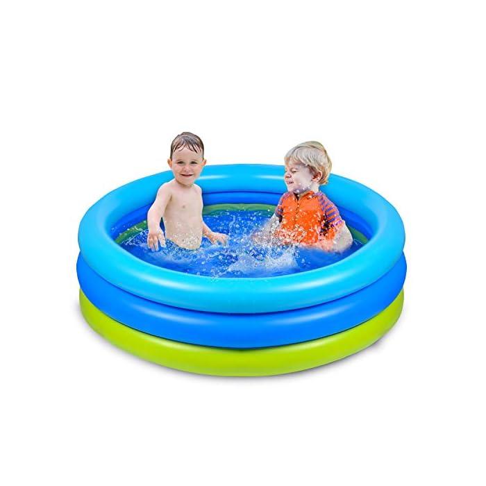 416fBKcwsVL 🌴【Piscina de verano para remar】 De color azul verdoso, refrescante y simple, ¡esta piscina te puede recordar instantáneamente el mar, el agua, los árboles, el color del verano! 🌴【Diversión segura en el agua】 No es necesario salir al exterior para refrescarse, solo disfrute del agua fresca en la piscina inflable en la terraza o en el jardín. Nuestra piscina garantiza que los niños jueguen en el agua sin riesgo. 🌴【Más resistente】 Material de PVC duradero adoptado, esta piscina para niños es más gruesa que otras, puede permanecer más tiempo en verano. Parche incluido para daños accidentales.
