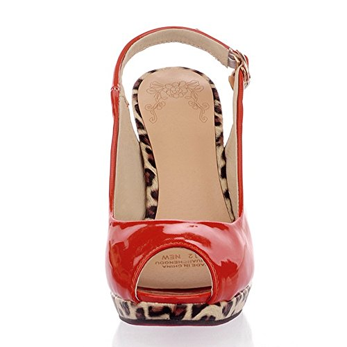 TAOFFEN Heel High Orange Women's Shoes Toe Peep v0qUvxwy4r