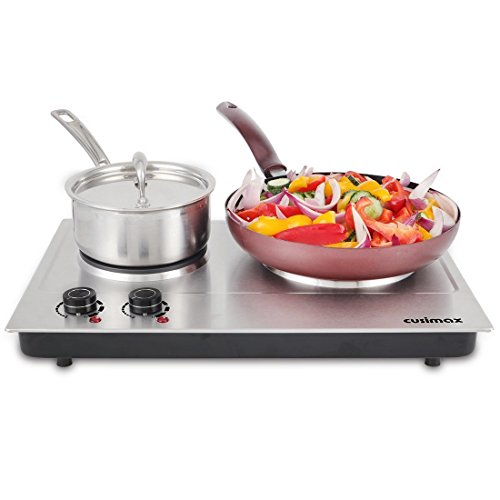 Review Cusimax 1800W Double Hot Plate, Stainless Countertop Burner, Silver Portable Electric Cooktop, CMHP-C180