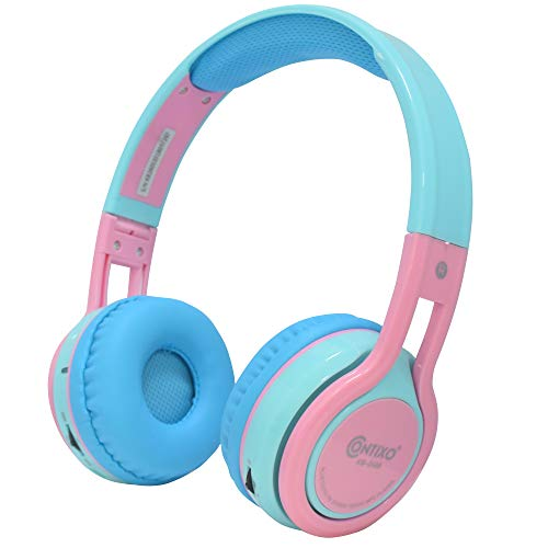 Contixo Kids Over The Ear Foldable Bluetooth Headphones Kids Safe 85dB with Volume Limiter, Built-in Microphone, Micro SD Card Slot, Music Player, FM Stereo Radio, Phone Controls (Blue + Pink)
